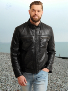 Higgs Leathers LAST FEW SAVE £60!  Gary (men's Black Leather Biker jacket))